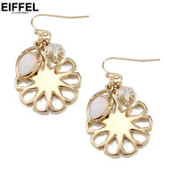 Earrings girls elegant gift alloy flower crystal cutout pendant anti-allergic
