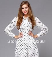 Fashion Women Restore OL Slim Dot Lapel Dress Long Sleeve Chiffon Dress free shipping 5864