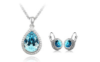 2014 hot selling White Gold Plated Austrian Crystal Rhinestone Fashion Jewelry Sets Make With Swarovski earrings +necklace