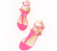 New 2014 Fashion  spring and summer sweet candy color belt t pinch flat sandals pink white