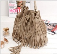 FREE SHIPPINGWomen's handbag 2013 vintage fashion brief bag tassel bucket bag drawstring bag suede velvet female