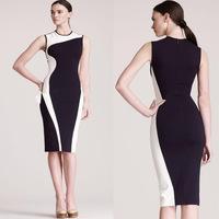 New Free Shipping Classic Black and White Patchwork Slim Vintage Elegant Summer Sleeveless O-Neck Bodycon Knee-Length Dress S-XL