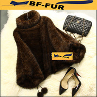 New 2014 Arrival Autumn Winter Real Knitted Mink Fur Women Pullover Fashion Plus Size Fur Coats  Design Female Retro Coat