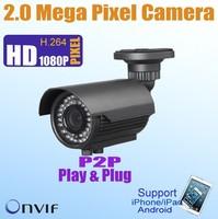 ONVIF POE 2 Megapixel IP Network Camera Outdoor IP66 Day/Night 2.8-12mm Varifocal Lens 50m IR distance Mobile Remote Veiw