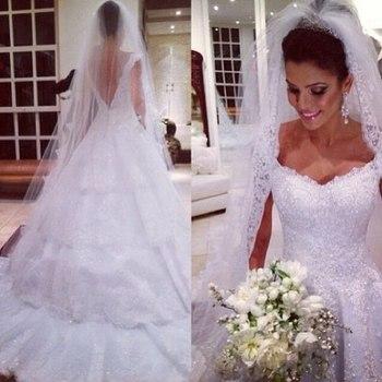 Роскошные милая белый длиной до пола , свадебные платья 2014 сексуальное В спинки невесты платье Vestidos Noivas