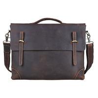 2014 Handmade Casual Coffee Color Genuine Leather Briefcase For Men Laptop 14 Inch Shoulder Bag Handbag Messenger Bag Satchel