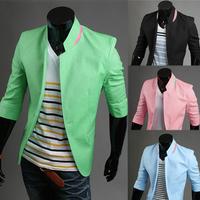 New 2014 men blazers male slim three quarter sleeve spring and autumn fashion suit blazer jacket