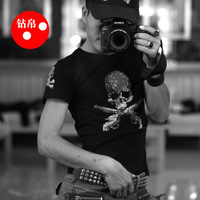 2014 mmj t-shirt male short-sleeve T-shirt double skull rhinestone ucren