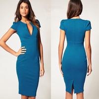 New woemn Ol dress Classic Blue Women Vintage Casual V-Neck Puff Short Sleeve Stretch Knee-Length Pencil Dress Plus Size XS-XXL