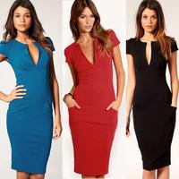 2014 Newest Vintage Elegant Deep V-Neck Pocket Zipper Short Sleeve Summer Dress,Women Fashion Knee-Length casual Dress XS-XXL