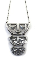 (Min Order $9.9)2014 Brand New Old Silver Rivet Long Three Semicircle Chain Pendant Women Necklace Design Jewelry Tribal Style