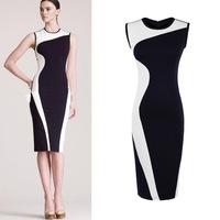 Free Shipping Classic Black White Patchwork Slim Vintage dress Elegant Summer Sleeveless O-Neck Knee-Length Maxi Dress XS-XXL
