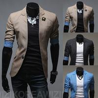 Free shipping 2014 spring men's casual classic half sleeve stitching buckle polka dots fashion slim blazer