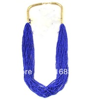 (Min Order $9.9)2014 Brand New Blue White Beads Multilayer Chain Women Necklace Fashion Design Jewelry Christmas Gift