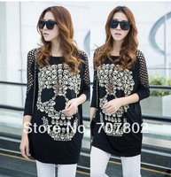 2014 spring women's fashion personality skull loose plus size fashion t-shirt free size