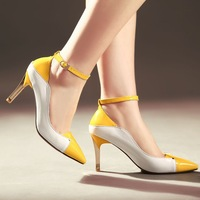 Free Shipping Classic Designer Women's Pumps Patent Leather Pointed Toe Ankle Strap High Heels Yellow Black Blue Single Shoes
