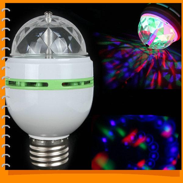 E27 RGB Colorful Effect Rotating Mini Round LED Bulb Crystal Magic Ball Light Stage Lamp for DJ Party Disco Bar KTV Lighting(China (Mainland))