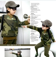 2014 new spring autumn children's camouflage suits military clothing sets boys girls army suits long sleeve shirt+pant 2pcs