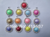 Free Shipping 16mm  Neno color Pearl Rhinestone Buttons Flatback wholesale ,60pcs/lot