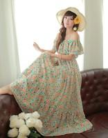2014 summer dress Bohemian villa word full falbala chiffon beach dress fashion women Bohemian dress hot sale free shipping