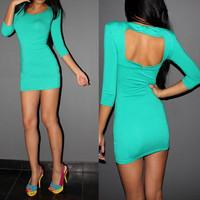 2014 Free shipping 2 Colors New Women Fashion O-Neck Three Quarter Open Back Party Sexy & Club Cotton Top Mini Stretch Dress