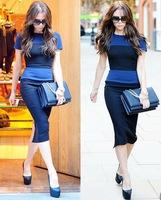 Free Shipping Women Blue Elegant Stripe Zipper Back Pencil Mid-Calf Party straip Dresses Fashion Bodycon Dress Plus Size XS-XXL