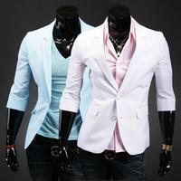 New 2014 spring brand fashion jacket for mens suit casual blazer men business slim half sleeve suit