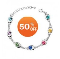6 colors white gold plated rhinestone crystal fashion bracelet jewelry for women B8182