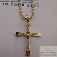 2014 New Pendant Fashion 18k Gold Plated Fast & Furious Toretto Men Classic Style CROSS Necklace Europe America Chain Necklaces