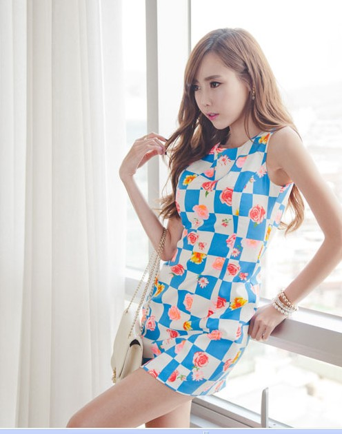 Vintage square grid flower sheath dress(China (Mainland))