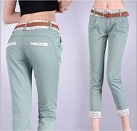 New women/OL lace harem pants female skinny slim cargo pants capris rolled-up hem patchwork plus size formal high waist elegant