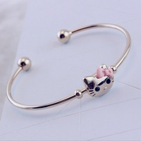 free shipping lovely cat decorated high quality gold plated open mouth bracelet