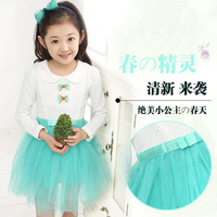 Children's clothing female child spring clothing puff princess gauze skirt one-piece dress