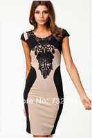 2014 New Fashion Spring Women's Vintage Short Sleeve Round Collar Lace Package Hip Sexy Women Party Dress Prom Dress ZD-0051