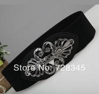 All-match fashion decoration wide cummerbund quality vintage black buckle women's elastic waist belt strap waist decoration p615