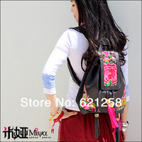 Free shipping! Embroidery shoulder bag, chest pack double-shoulder travel bag genuine leather bag