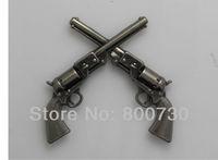 """10PC 1-1/2"""" Western Cowboy Decor Crossed Concho 1861 Colt Revolver Pistols Concho Antique-Silver"""