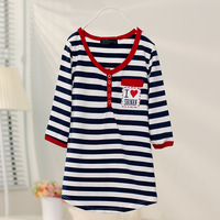 2014 New Spring Summer Women's Half Sleeve Navy Anchor Style T Shirt Shirts Fashion Striped Cotton Tops For girl Women