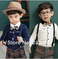 New Arrival 2014 Spring / Autumn Kids Boys Long Sleeve Shirts Classical Bows Shirts Children's Clothing Free Shipping K2014036