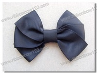 Girls hair grosgrain bow in black color