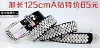Crystal women's lengthen plus size Women rhinestone wide belt black genuine leather cowhide belt strap