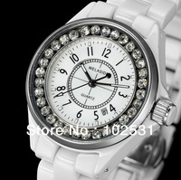 New Fashion Luxury Decorative Diamond & White Ceramic Classics Lady Calendar WELASIDN Women Clock Dress Girls Quartz Hand Watch