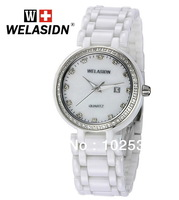 2014 Noble Luxury Lady White Ceramic Classics Calendar Lady Decorative Diamond Women WELASIDN Clock Dress Girls Quartz Watch