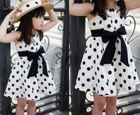 girl dot print dress brand new 2014 girls kids casual fashion bow design summer princess white cotton dress age 3-9
