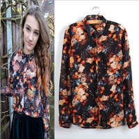 new arrival 2014 fashion women's vintage turn-down collar long-sleeve ink floral pattern chiffon shirt