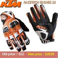 Free Shipping KTM  Racetech Genuine carbon fiber Motocross Gloves/ Racing gloves / riding gloves orange