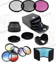 52mm Lens Hood + UV CPL FLD Filter Kit + Cap +  Graduated  ND Grey Blue Set for Nikon D600 D3200 D3100 D3000