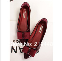 2014 Spring New Shoes Patent Leather British Style Big Bow Pointed Flat Shoes