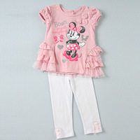 New 2014 cartoon cothes Minnie Girl clothing sets cotton t shirt+pants suits,free shipping,children clothing 5set/1lot