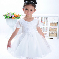 Elegant girls ! 2014 new hot children short-sleeve princess dress, wedding skirt, female child flower formal party ball dress